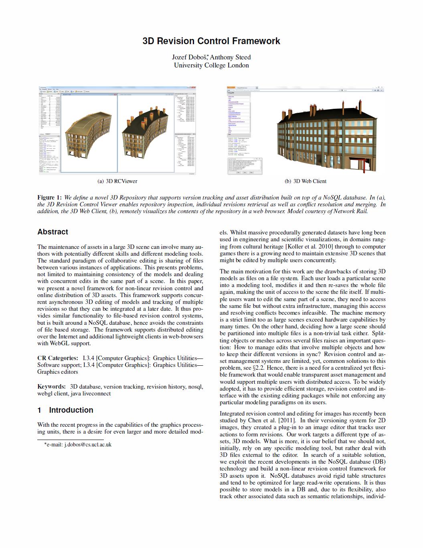 Web3D 2012 — 3D Revision Control Framework